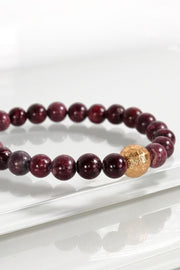 Touch Of Gold Stone Bracelet In Wine - Simply Sass Boutique