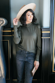A Little Puff In Your Sleeve in Olive - Women's Clothing AfterPay Sezzle KanCan Judy Blue Simply Sass Boutique