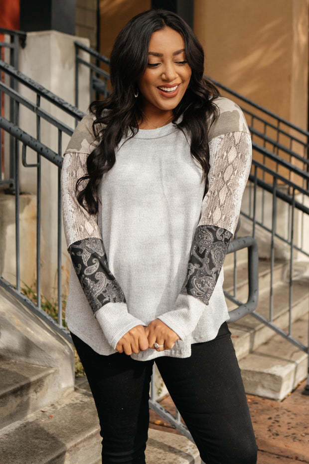 All About The Details Top in Gray - Women's Clothing AfterPay Sezzle KanCan Judy Blue Simply Sass Boutique