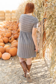Angles And Stripes Dress in Gray - Women's Clothing AfterPay Sezzle KanCan Judy Blue Simply Sass Boutique