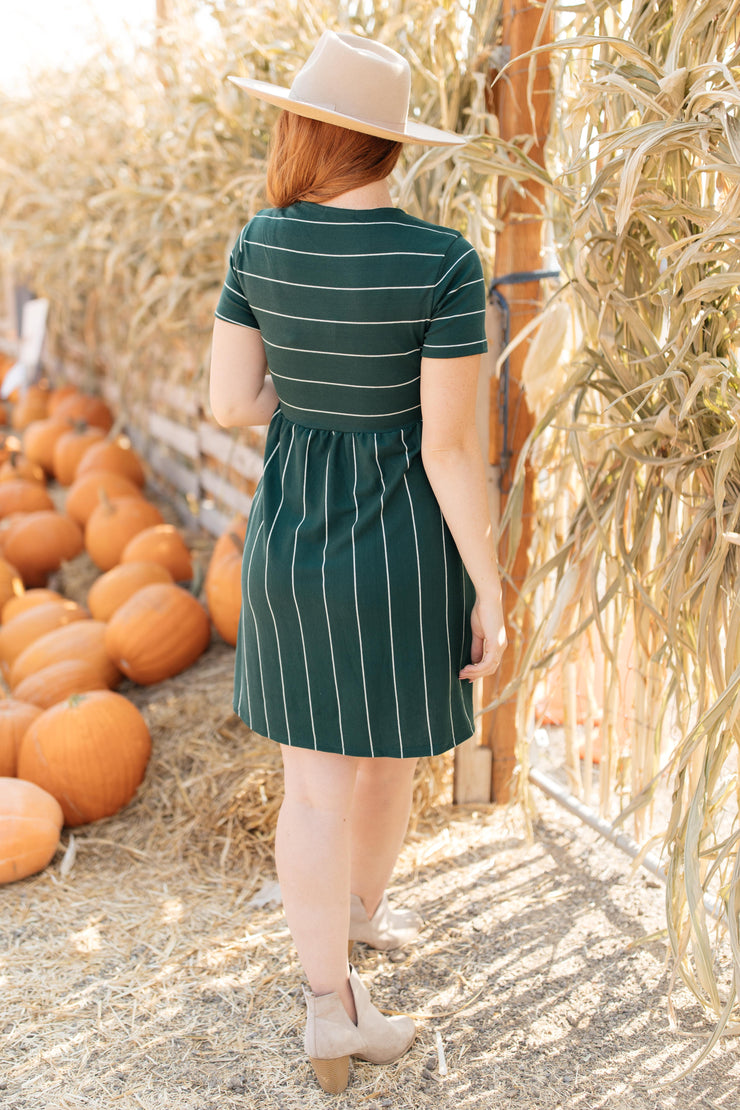 Angles And Stripes Dress in Hunter Green - Women's Clothing AfterPay Sezzle KanCan Judy Blue Simply Sass Boutique