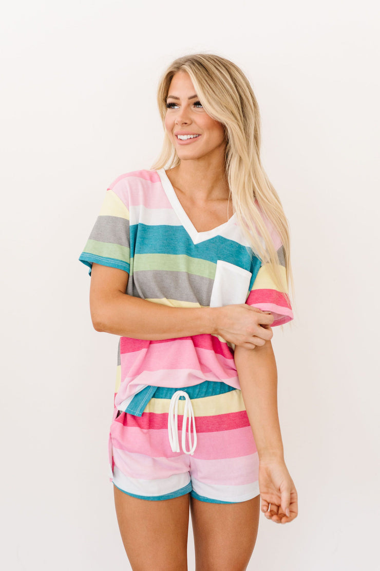 Aurora Striped V-Neck - Women's Clothing AfterPay Sezzle KanCan Judy Blue Simply Sass Boutique