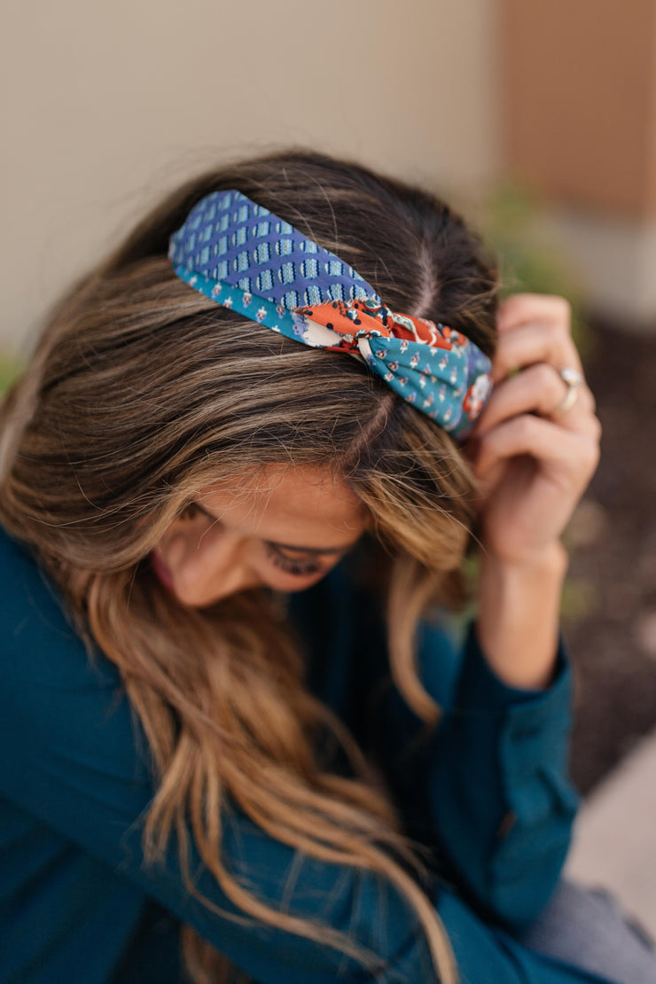 Autumn Artwork Headband in Blue - Women's Clothing AfterPay Sezzle KanCan Judy Blue Simply Sass Boutique