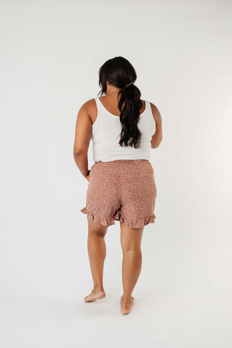 Short Leash Ruffled Shorts In Mauve - Women's Clothing AfterPay Sezzle KanCan Judy Blue Simply Sass Boutique