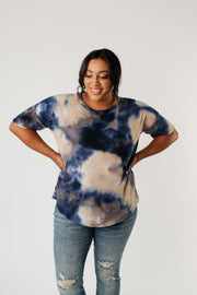 Waffle Knit Tie Dye Top In Midnight - Women's Clothing AfterPay Sezzle KanCan Judy Blue Simply Sass Boutique