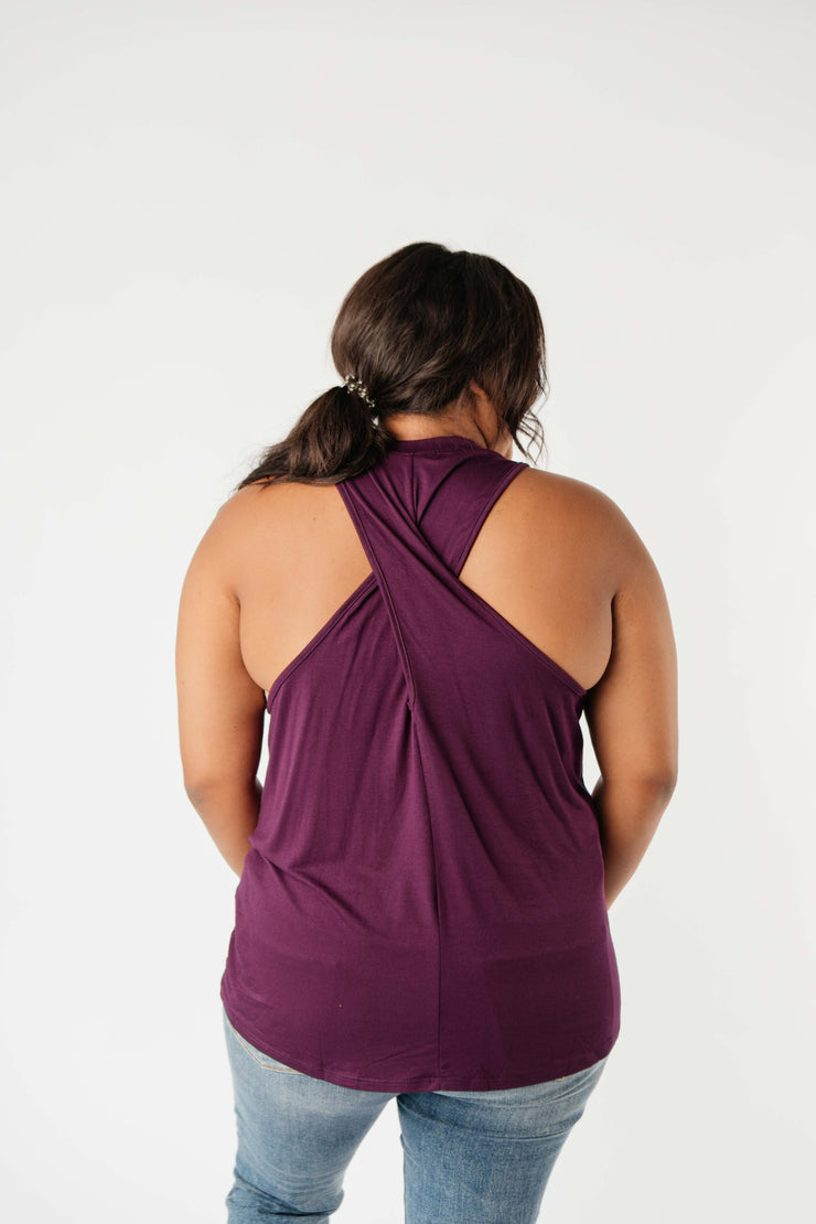 Running Behind Twist Back Tank In Plum - Women's Clothing AfterPay Sezzle KanCan Judy Blue Simply Sass Boutique
