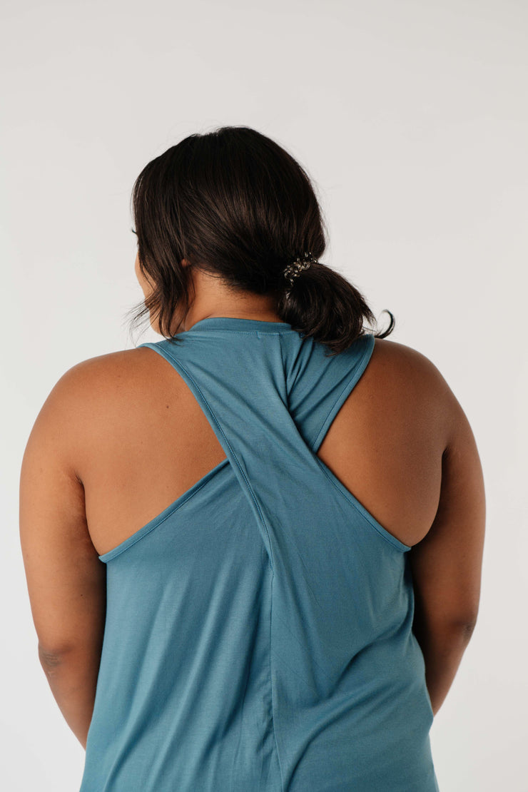 Running Behind Twist Back Tank In Jade - Simply Sass Boutique