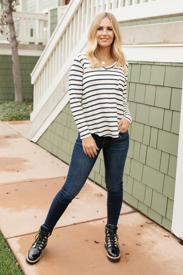 Basically Striped Long Sleeve Top in Ivory and Black - Women's Clothing AfterPay Sezzle KanCan Judy Blue Simply Sass Boutique