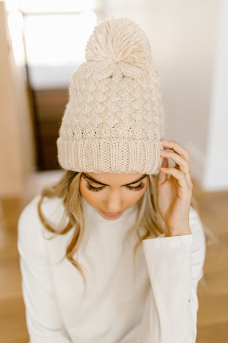 Bella Knit Beanie in Cream - Women's Clothing AfterPay Sezzle KanCan Judy Blue Simply Sass Boutique