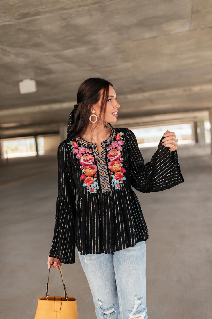 Blooming Rose Striped & Embroidered Blouse - Simply Sass Boutique