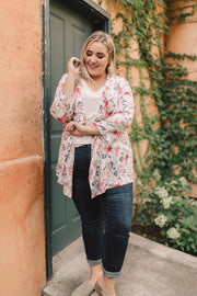 Blossoms On Subtle Stripes Cardigan In Pink - Women's Clothing AfterPay Sezzle KanCan Judy Blue Simply Sass Boutique