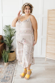 Boho Taupe Floral Jumpsuit - Simply Sass Boutique