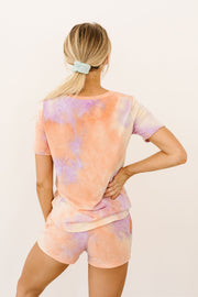 Brushed Knit Tie Dye Lounge Top In Coral - Women's Clothing AfterPay Sezzle KanCan Judy Blue Simply Sass Boutique