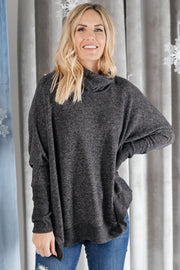 Brushed Melange Cowl Neck Sweater in Black - Women's Clothing AfterPay Sezzle KanCan Judy Blue Simply Sass Boutique