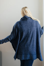 Brushed Melange Cowl Neck Sweater in Navy - Women's Clothing AfterPay Sezzle KanCan Judy Blue Simply Sass Boutique