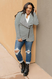 Business Casual Striped Jacket in Black - Women's Clothing AfterPay Sezzle KanCan Judy Blue Simply Sass Boutique