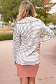 Business Casual Striped Jacket in Gray - Women's Clothing AfterPay Sezzle KanCan Judy Blue Simply Sass Boutique