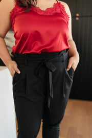 Business Woman Paperbag Pants in Black - Women's Clothing AfterPay Sezzle KanCan Judy Blue Simply Sass Boutique