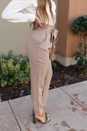 Business Woman Paperbag Pants in Khaki - Women's Clothing AfterPay Sezzle KanCan Judy Blue Simply Sass Boutique