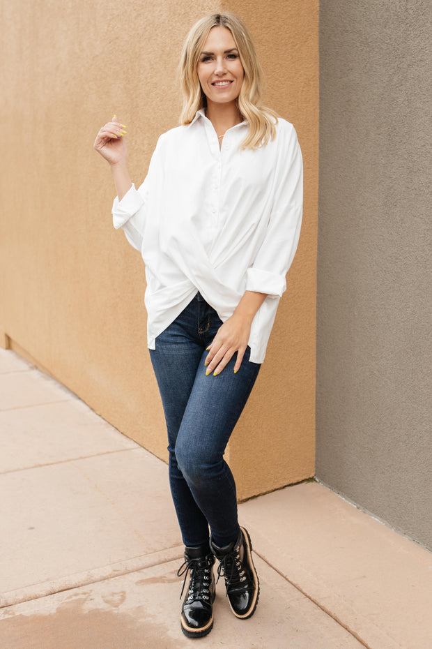 Carlee Crossed Hem Blouse - Women's Clothing AfterPay Sezzle KanCan Judy Blue Simply Sass Boutique