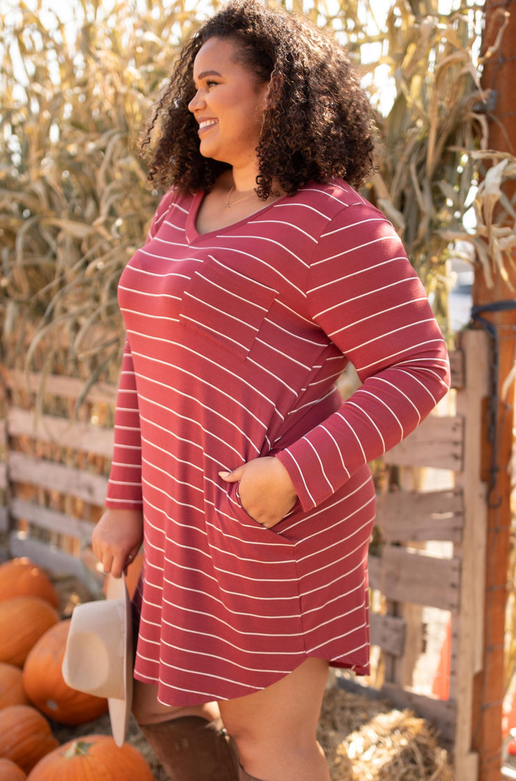 Cinnamon Striped Dress - Women's Clothing AfterPay Sezzle KanCan Judy Blue Simply Sass Boutique