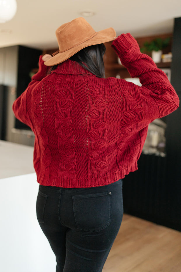 Classic Cable Knit Sweater in Cranberry - Women's Clothing AfterPay Sezzle KanCan Judy Blue Simply Sass Boutique