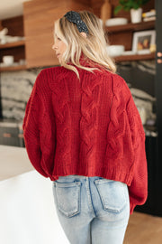 Classic Cable Knit Sweater in Cranberry - Women's Clothing AfterPay Sezzle KanCa