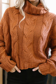 Classic Cable Knit Sweater in Ginger Spice - Women's Clothing AfterPay Sezzle KanCan Judy Blue Simply Sass Boutique