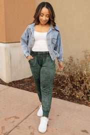 Cozy Joggers in Hunter Green - Women's Clothing AfterPay Sezzle KanCan Judy Blue Simply Sass Boutique