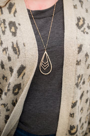 Chevron Charm Hammered Gold Tear Drop Necklace - Women's Clothing AfterPay Sezzle KanCan Judy Blue Simply Sass Boutique