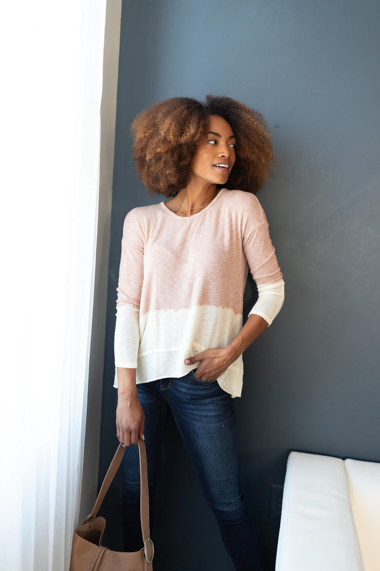 Delightfully Dipped Dusty Rose Top - Women's Clothing AfterPay Sezzle KanCan Judy Blue Simply Sass Boutique