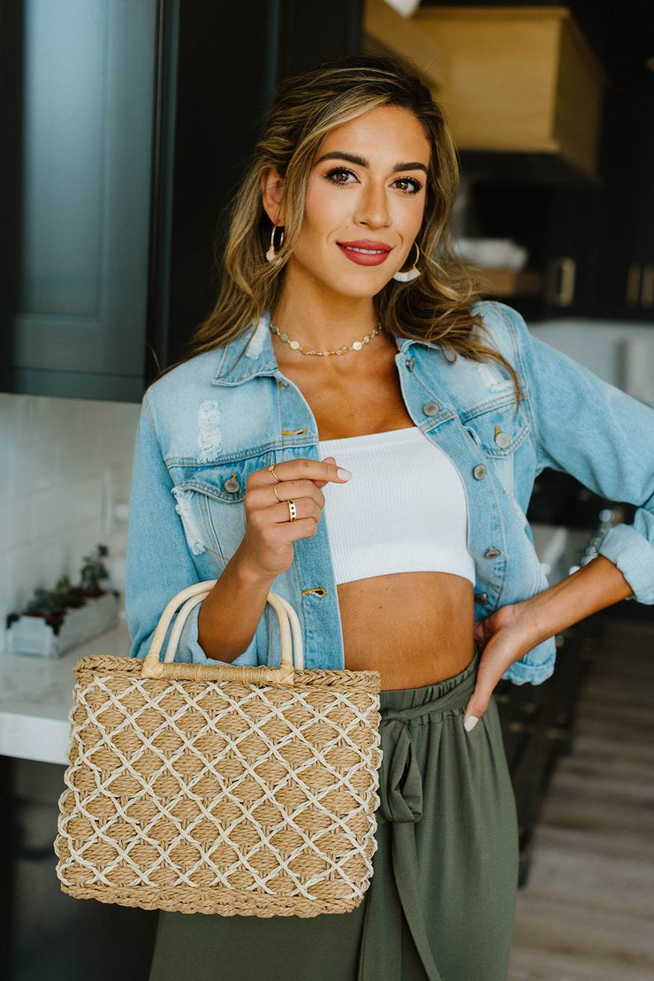 Diamond Weave Straw Bag - Women's Clothing AfterPay Sezzle KanCan Judy Blue Simply Sass Boutique