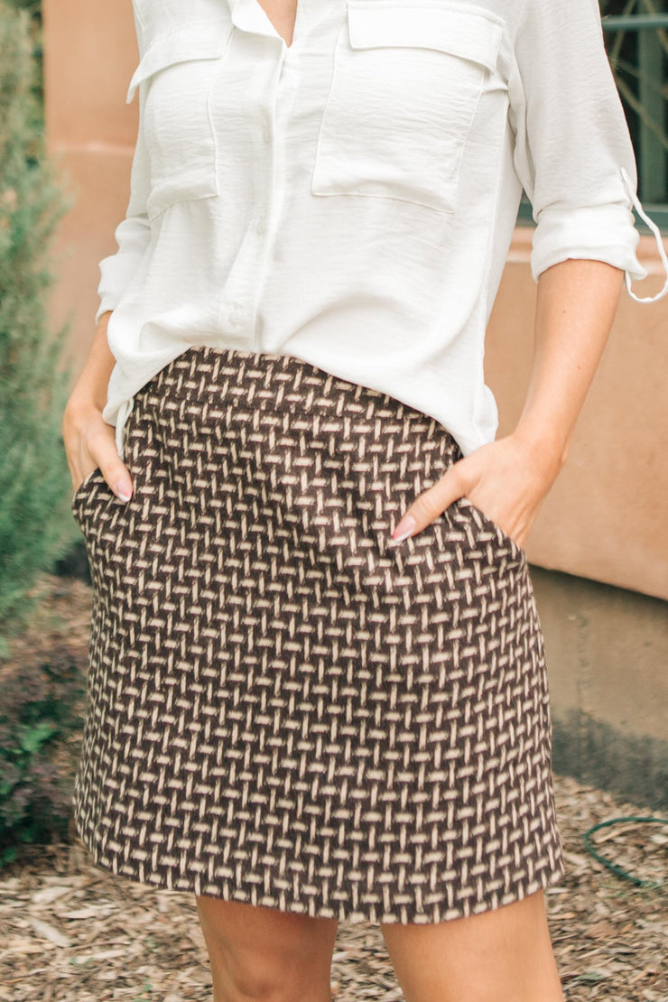 Elly Tweed Skirt in Hazelnut - Women's Clothing AfterPay Sezzle KanCan Judy Blue Simply Sass Boutique