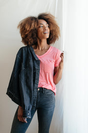 Essential V-Neck Tee In Pink - Women's Clothing AfterPay Sezzle KanCan Judy Blue Simply Sass Boutique