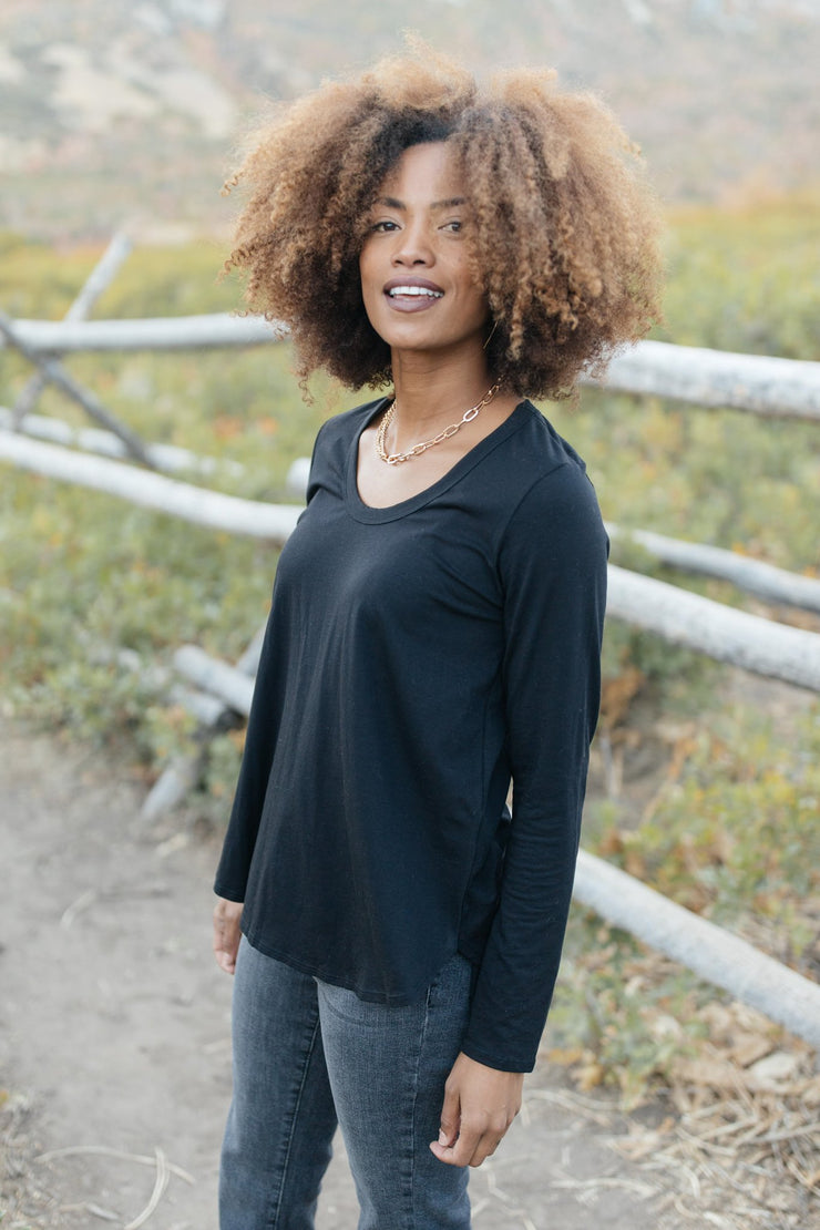 Every Girl's Favorite Basic Top in Black - Women's Clothing AfterPay Sezzle KanCan Judy Blue Simply Sass Boutique