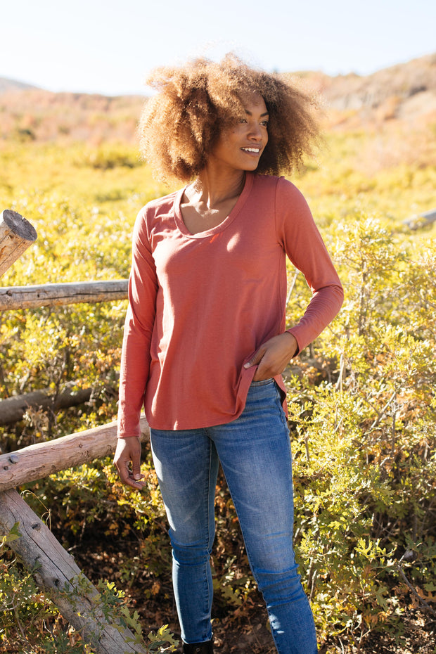 Every Girl's Favorite Basic Top in Brick - Women's Clothing AfterPay Sezzle KanCan Judy Blue Simply Sass Boutique