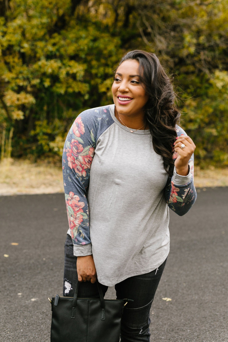 Faded Floral Raglan Tee - In House - Women's Clothing AfterPay Sezzle KanCan Judy Blue Simply Sass Boutique