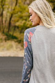 Faded Floral Raglan Tee - In House - Simply Sass Boutique