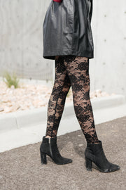 Fanciful Floral Leggings In Black - Women's Clothing AfterPay Sezzle KanCan Judy Blue Simply Sass Boutique