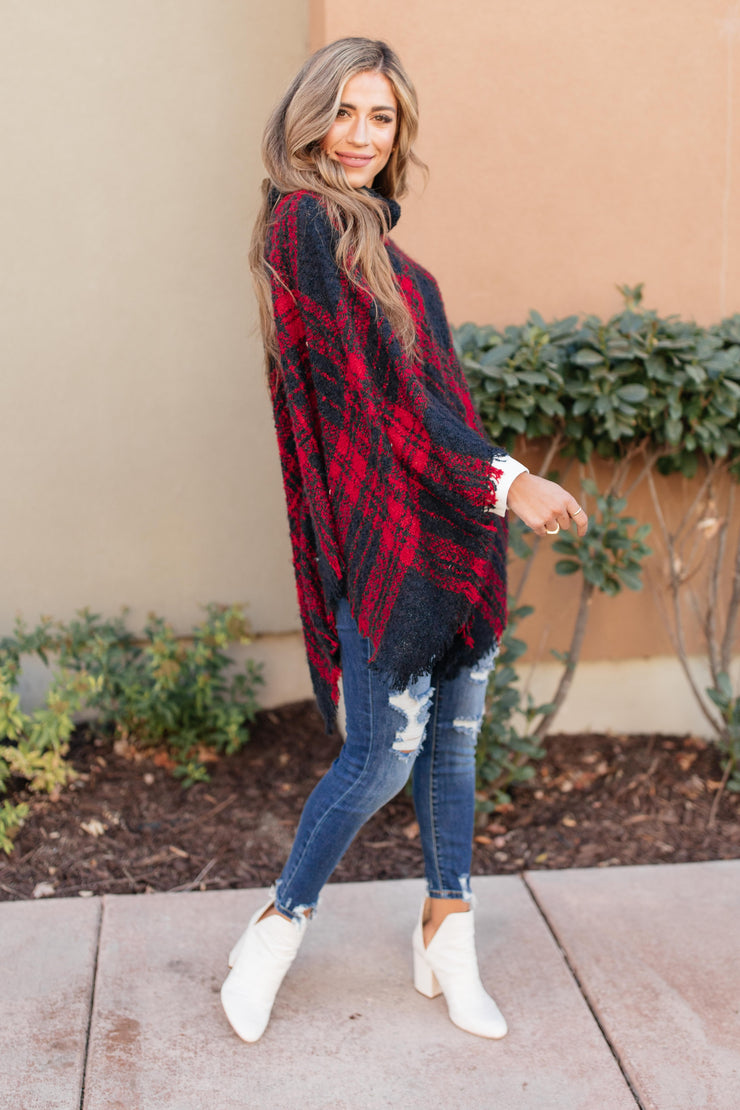 Feelin' The Fringe Plaid Poncho - Women's Clothing AfterPay Sezzle KanCan Judy Blue Simply Sass Boutique