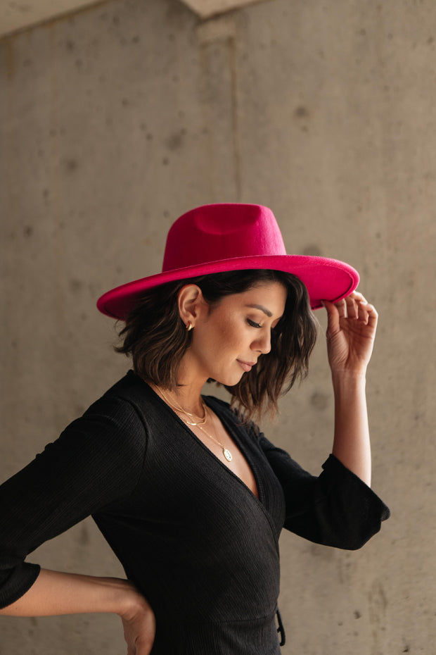 Felicity Flat Brim Hat In Hot Pink - Women's Clothing AfterPay Sezzle KanCan Judy Blue Simply Sass Boutique
