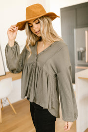 Forever Blooming Babydoll Top in Olive - Women's Clothing AfterPay Sezzle KanCan Judy Blue Simply Sass Boutique