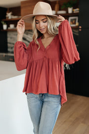 Forever Blooming Babydoll Top in Rust - Women's Clothing AfterPay Sezzle KanCan Judy Blue Simply Sass Boutique