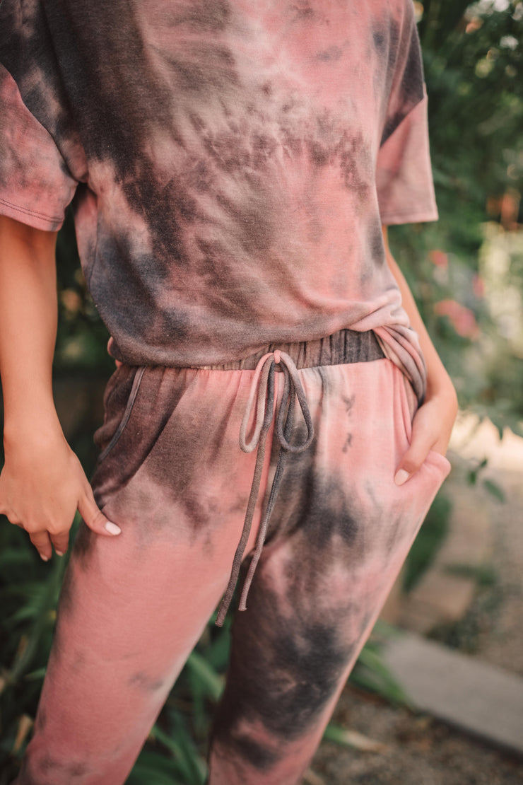 Forgotten Dreams Tie Dye Joggers In Mauve - Women's Clothing AfterPay Sezzle KanCan Judy Blue Simply Sass Boutique