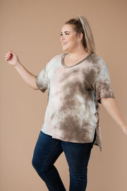 Forgotten Dreams Tie Dye Top In Taupe - Simply Sass Boutique