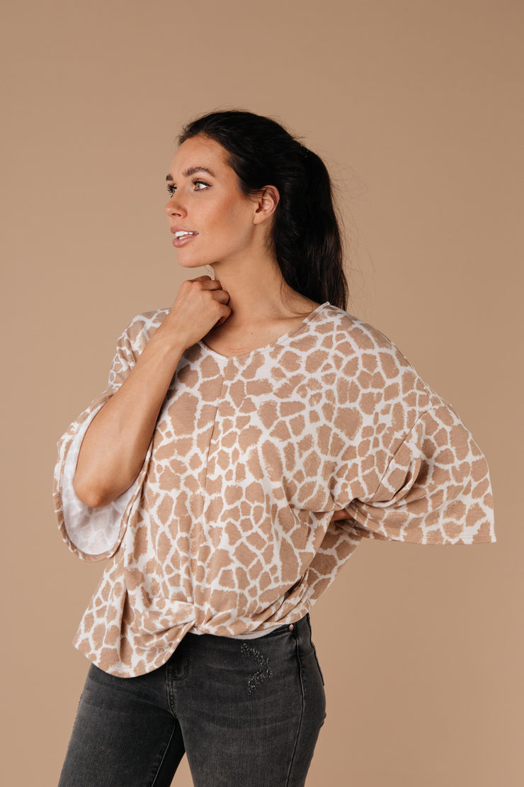Giraffe Print Bell Sleeve Top - Women's Clothing AfterPay Sezzle KanCan Judy Blue Simply Sass Boutique