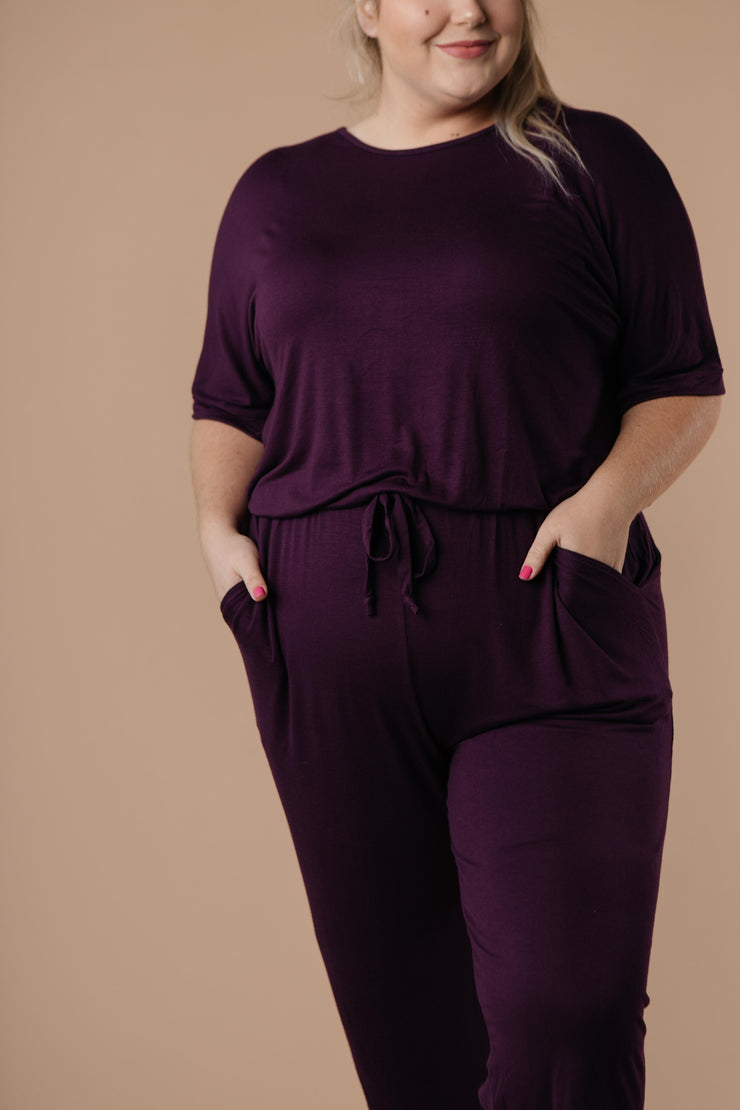 Girl Next Door Jumpsuit In Plum - Simply Sass Boutique