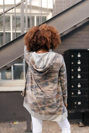 Go Girl Go Camo Hooded Camo Cardigan - In House - Women's Clothing AfterPay Sezzle KanCan Judy Blue Simply Sass Boutique