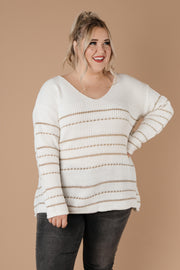 Golden Ticket Striped Sweater - Women's Clothing AfterPay Sezzle KanCan Judy Blue Simply Sass Boutique