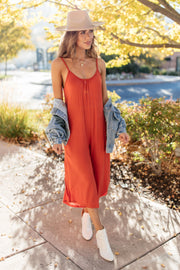 Good Better Best Cropped Tank Jumpsuit in Rust - Women's Clothing AfterPay Sezzle KanCan Judy Blue Simply Sass Boutique